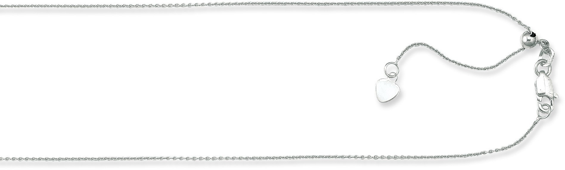 "22"" 10K White Gold 0.90mm (0.04"") Polished Diamond Cut Adjustable Cable Chain w/ Lobster Clasp"
