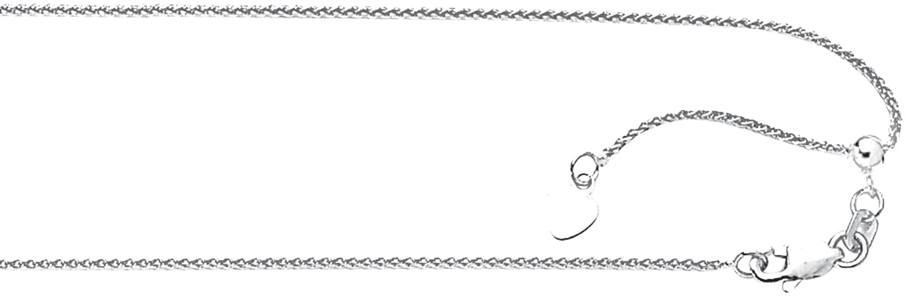 "22"" 10K White Gold 1.0mm (0.04"") Polished Diamond Cut Adjustable Wheat Chain w/ Lobster Clasp"