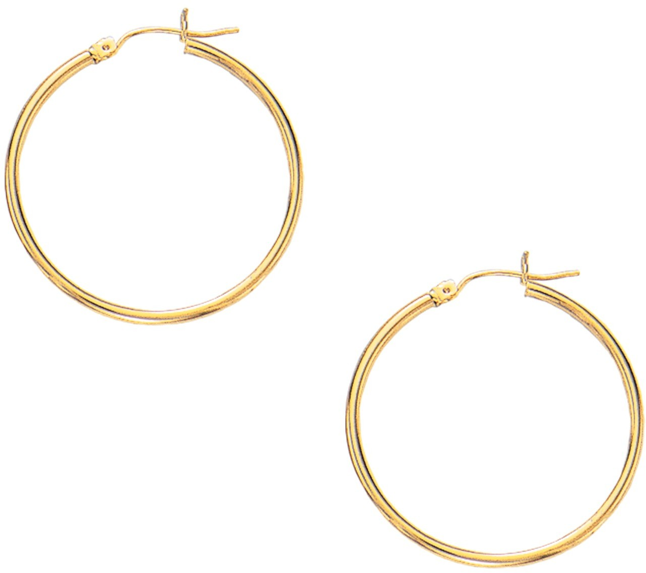 "10K Yellow Gold 2.0x30mm (0.08""x1.18"") Shiny Round Hoop Earrings"