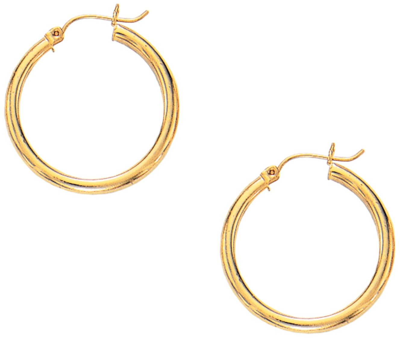 "10K Yellow Gold 3.0mm (1/8"") Super Lite Tube Hoop Earrings"
