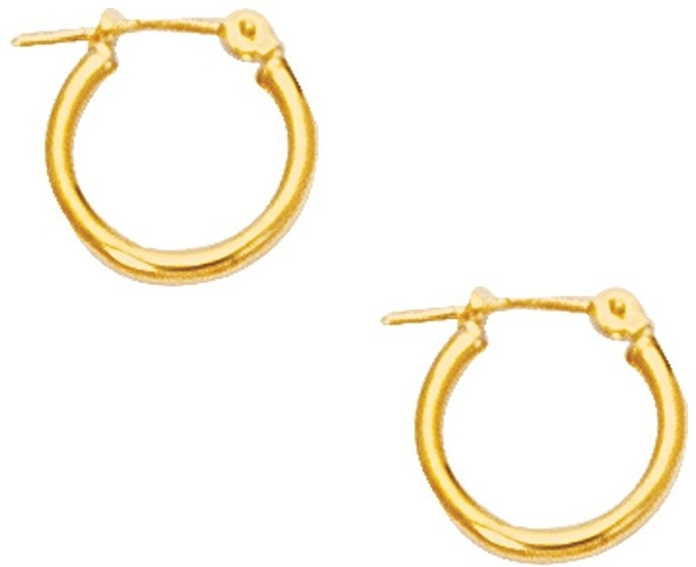 "10K Yellow Gold 2.0mm (0.08"") Polished Small Open Round Tube Hoop Like Fancy Earrings"