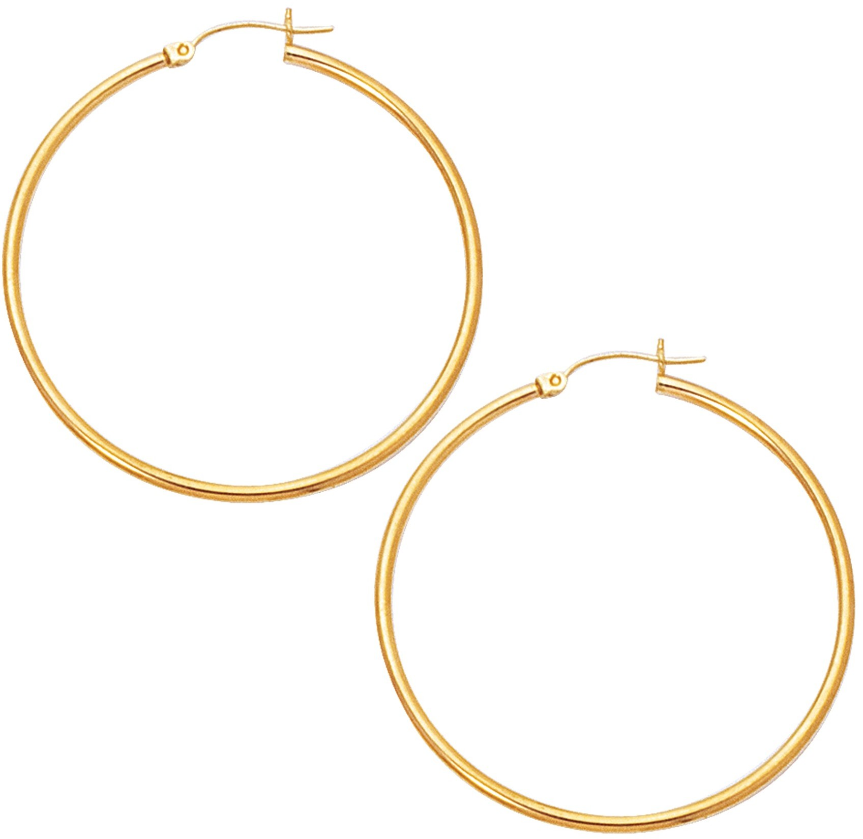 "10K Yellow Gold 2.0X45mm (0.08""x1.77"") Polished Large Open Round Tube Hoop Like Fancy Earrings"