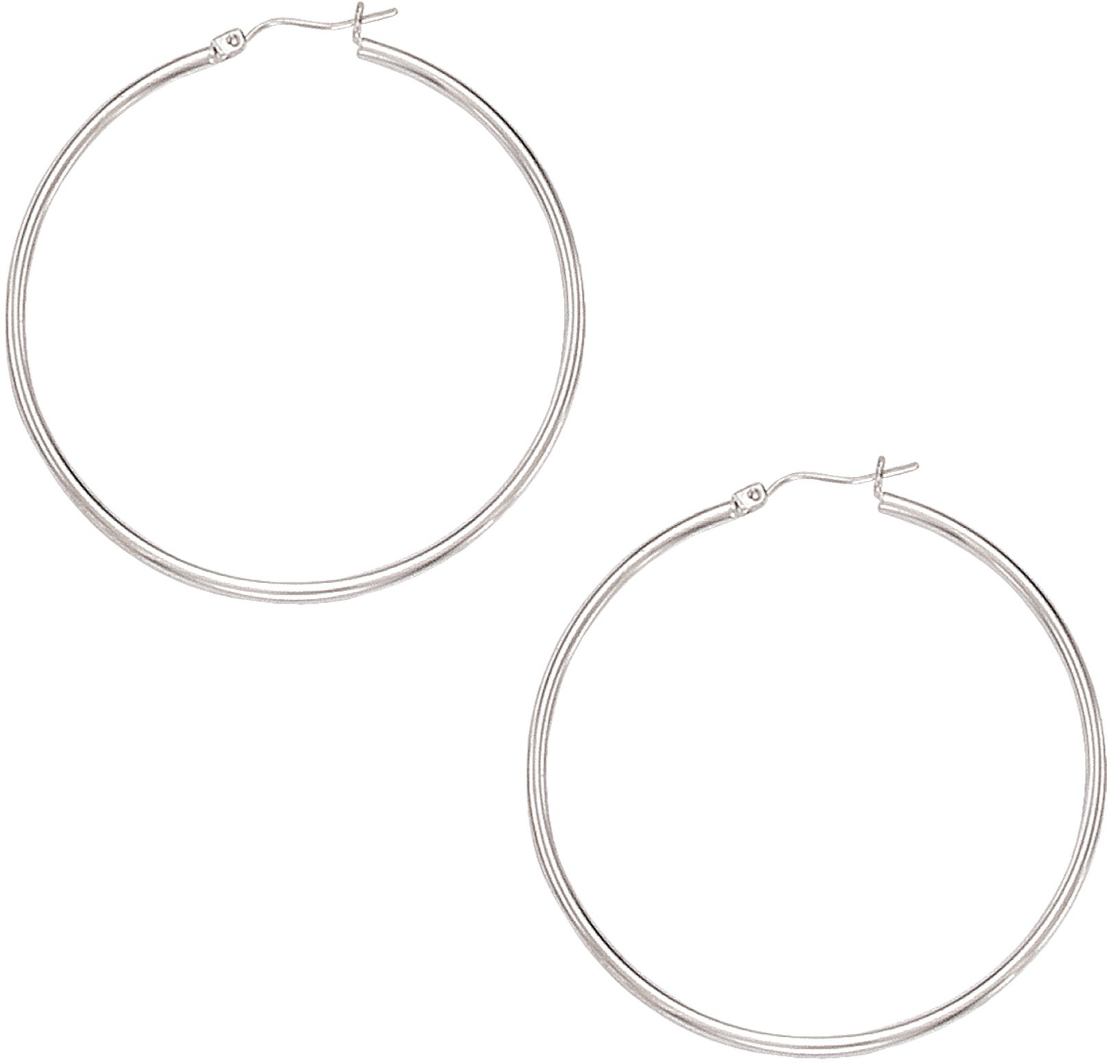 "10K White Gold 2.0X50mm (0.08""x1.97"") Polished Large Open Round Tube Hoop Like Fancy Earrings"