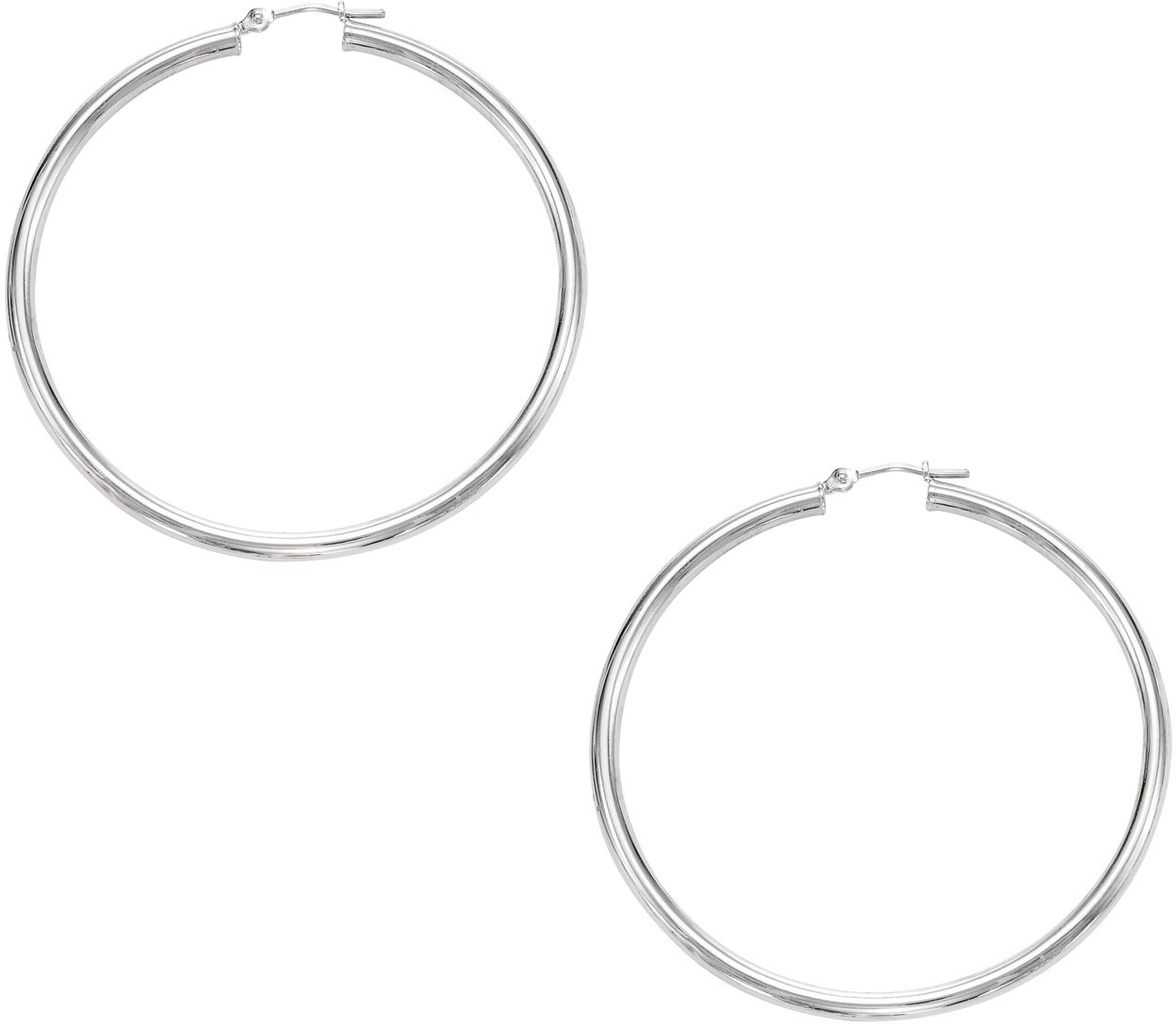"10K White Gold 2.0x40mm (0.08""x1.57"") Shiny Round Hoop Earrings"