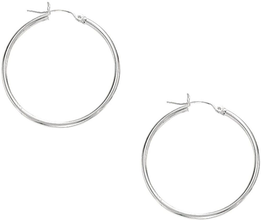 "10K White Gold 1.0x25mm (0.04""x0.98"") Light Tube Hoop Earrings"