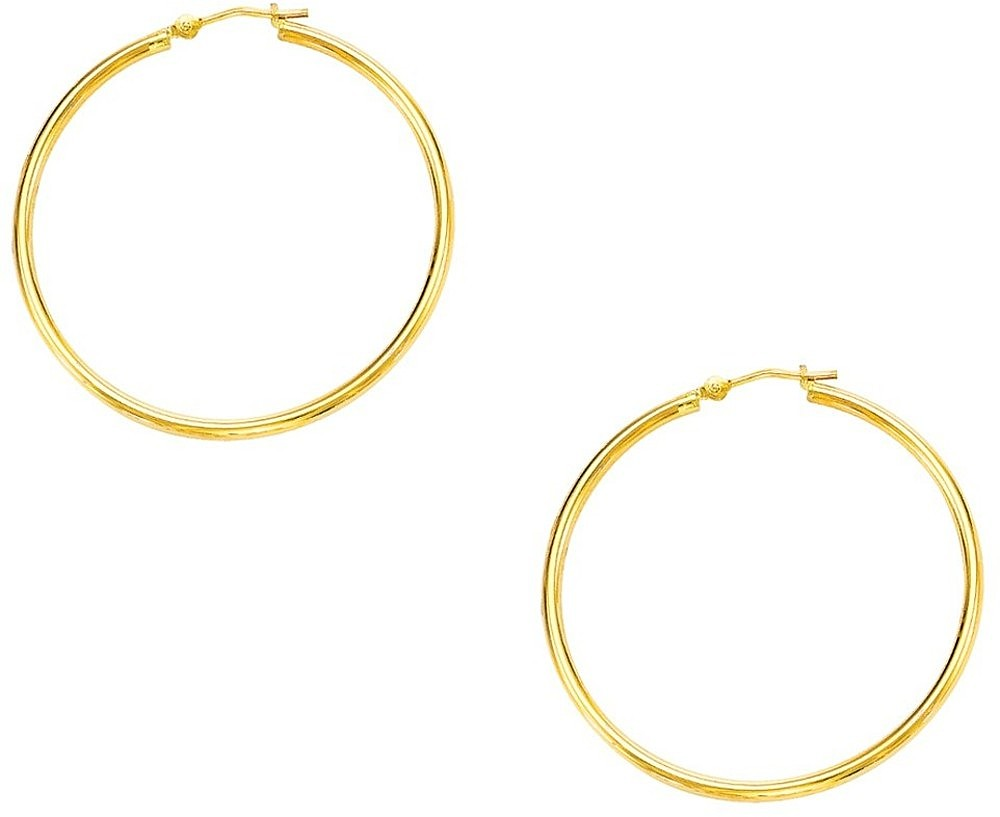 "10K Yellow Gold 1.0x30mm (0.04""x1.18"") Light Tube Hoop Earrings"