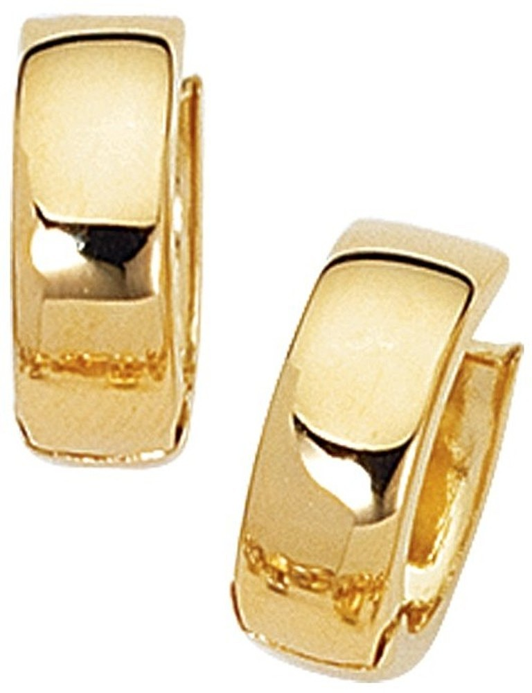 10K Yellow Gold Polished Huggie Hoop Earrings