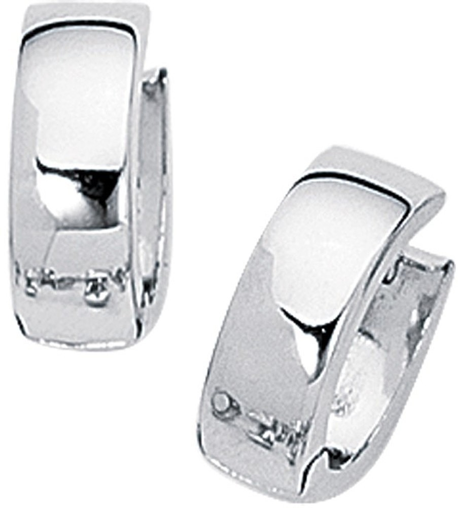 14K White Gold Polished Huggie Hoop Earrings