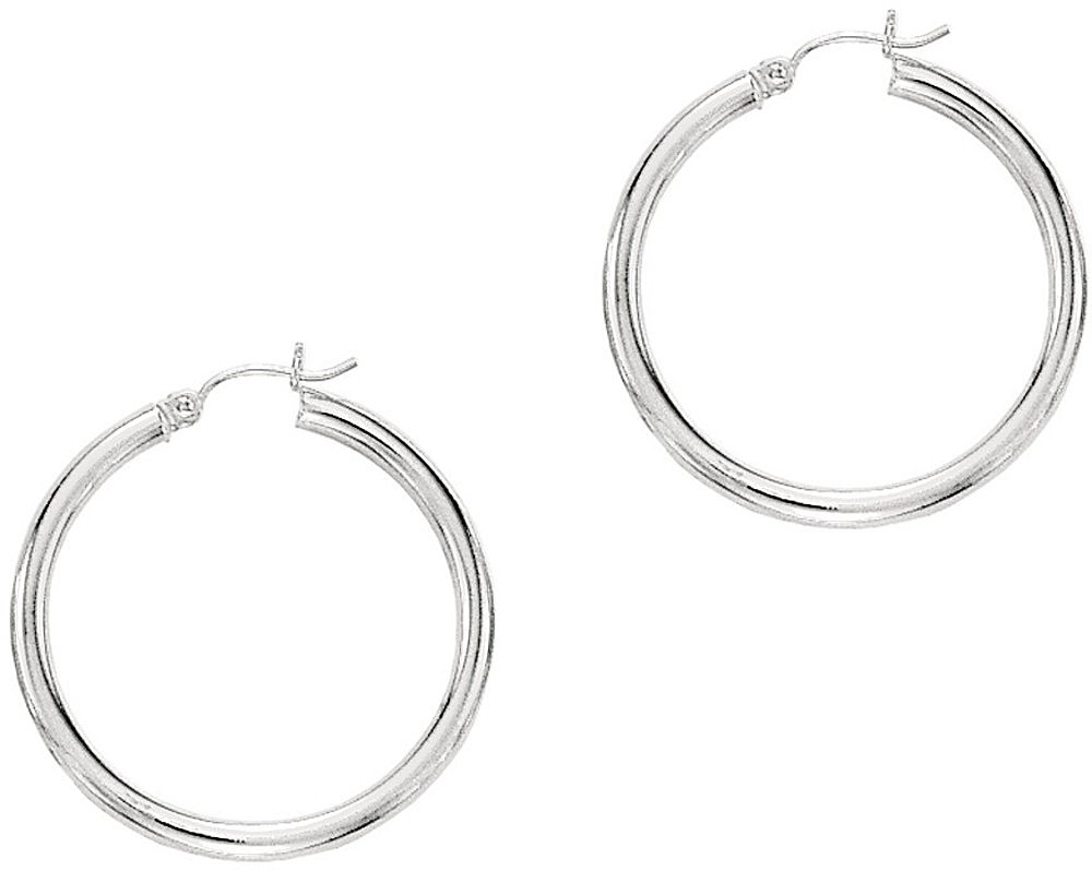 "10K White Gold 2.0x25mm (0.08""x0.98"") Shiny Round Hoop Earrings"