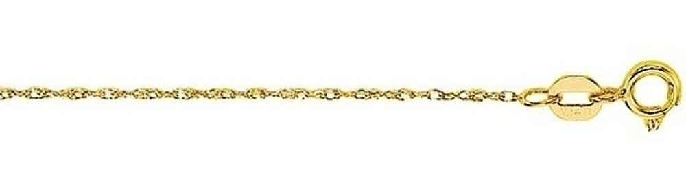 "16"" 14K Yellow Gold Polished Diamond Cut Carded Pendant Rope Chain w/ Spring Ring Clasp"