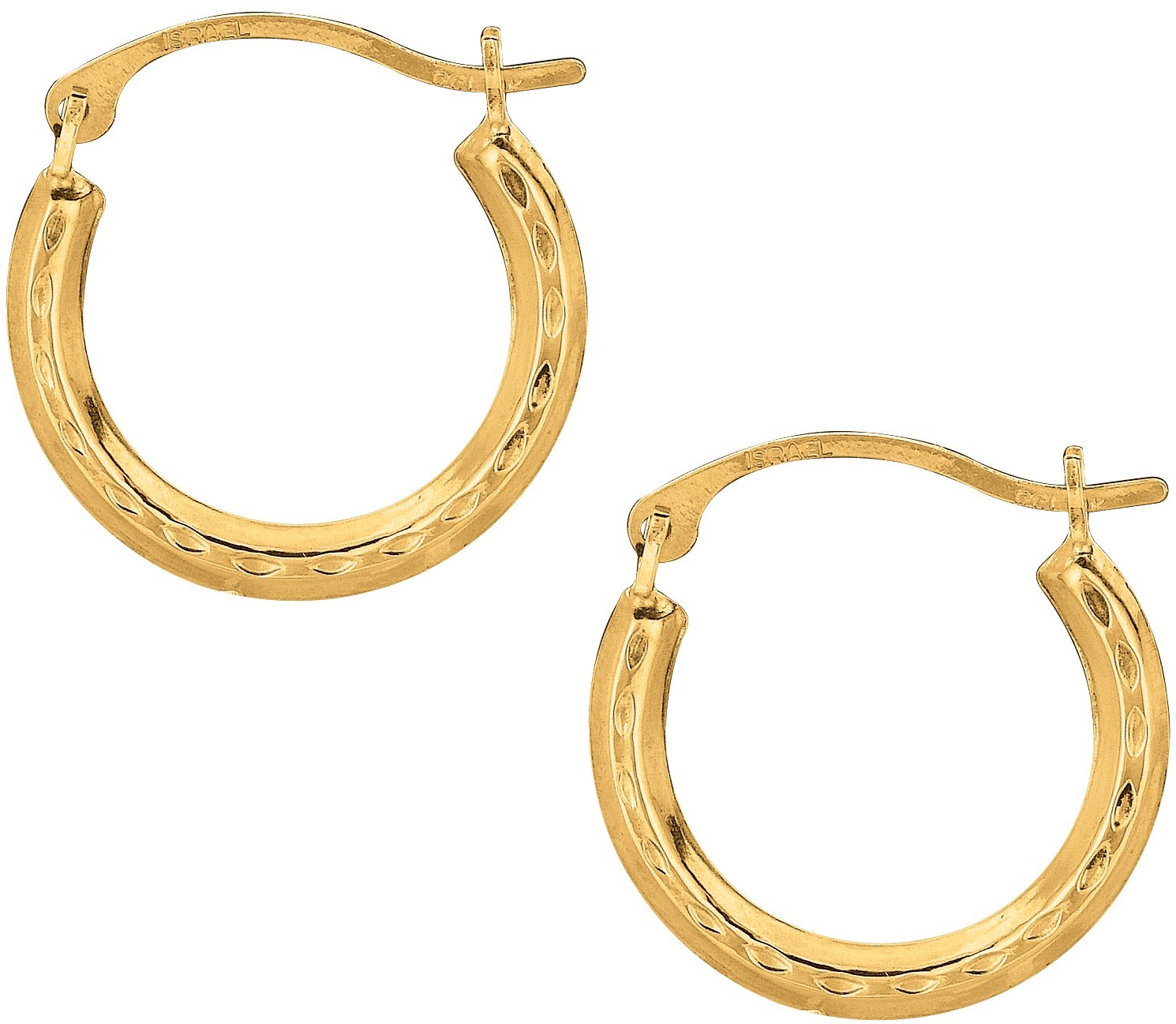 10K Yellow Gold Polished Textured Open Round Hoop Like Fancy Earrings