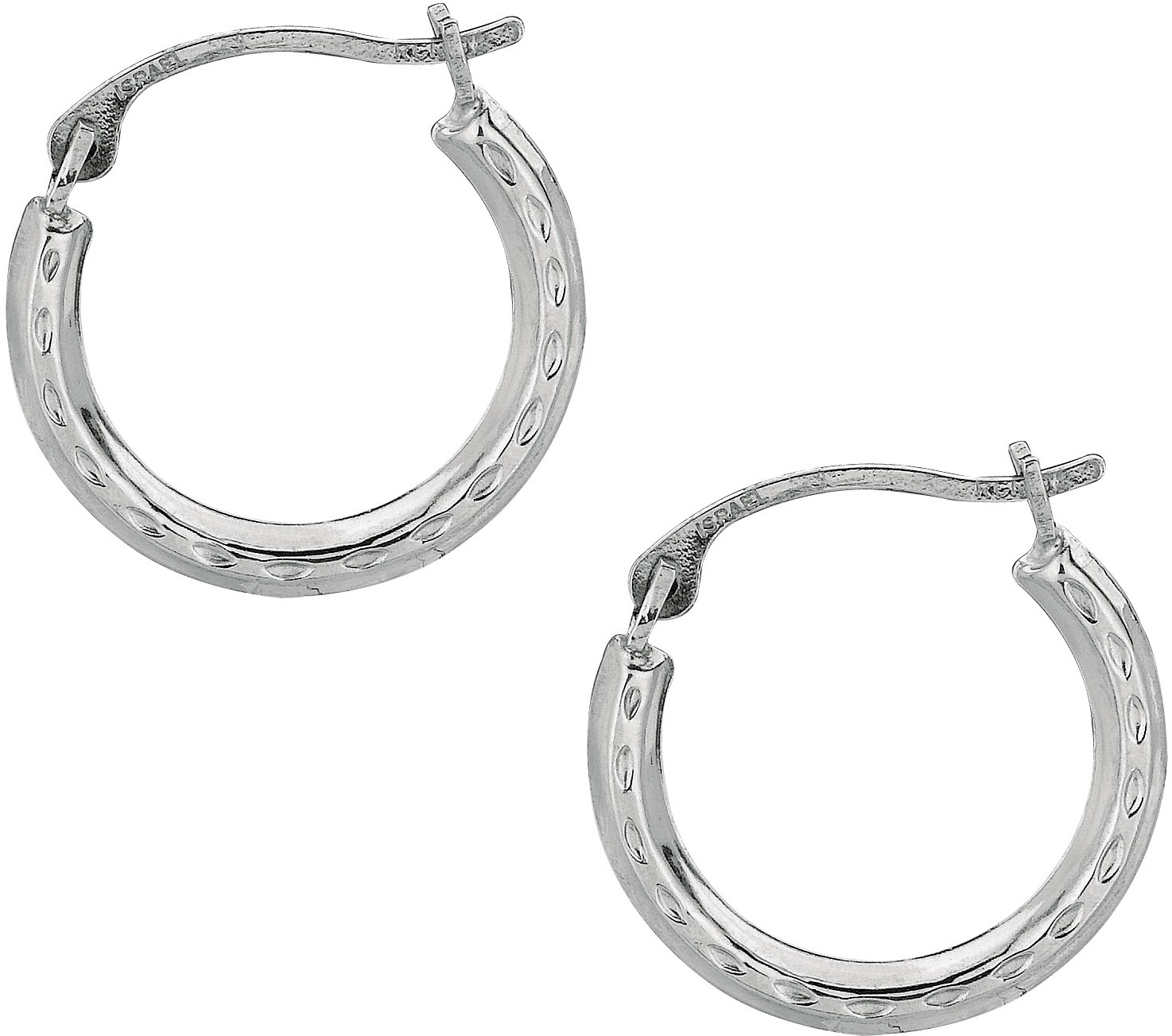 10K White Gold Polished Textured Open Round Hoop Like Fancy Earrings