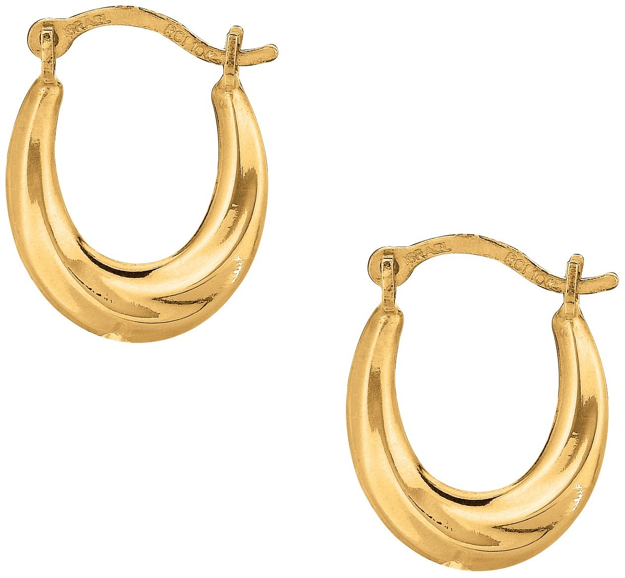 10K Yellow Gold Polished Twisted Oval Like Hoop Fancy Earrings