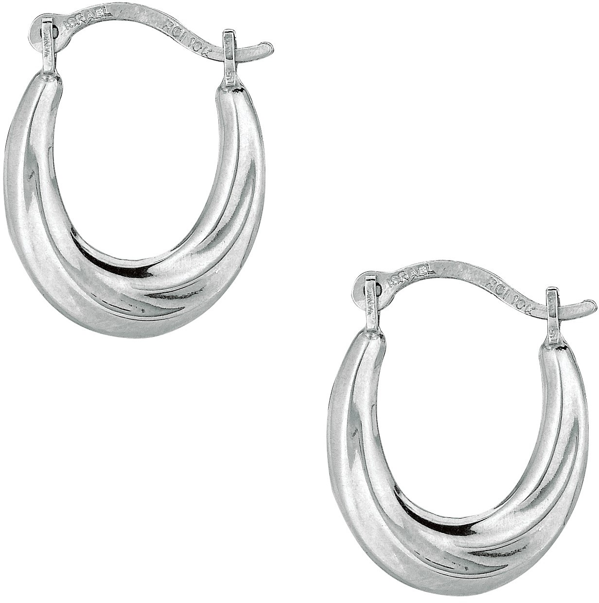10K White Gold Polished Twisted Oval Like Hoop Fancy Earrings