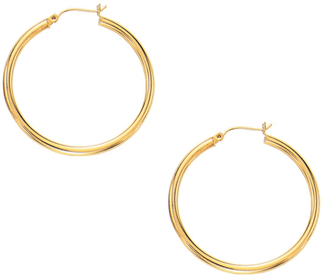 "10K Yellow Gold 3.0mm (1/8"") Shiny Tube Hoop Earrings"
