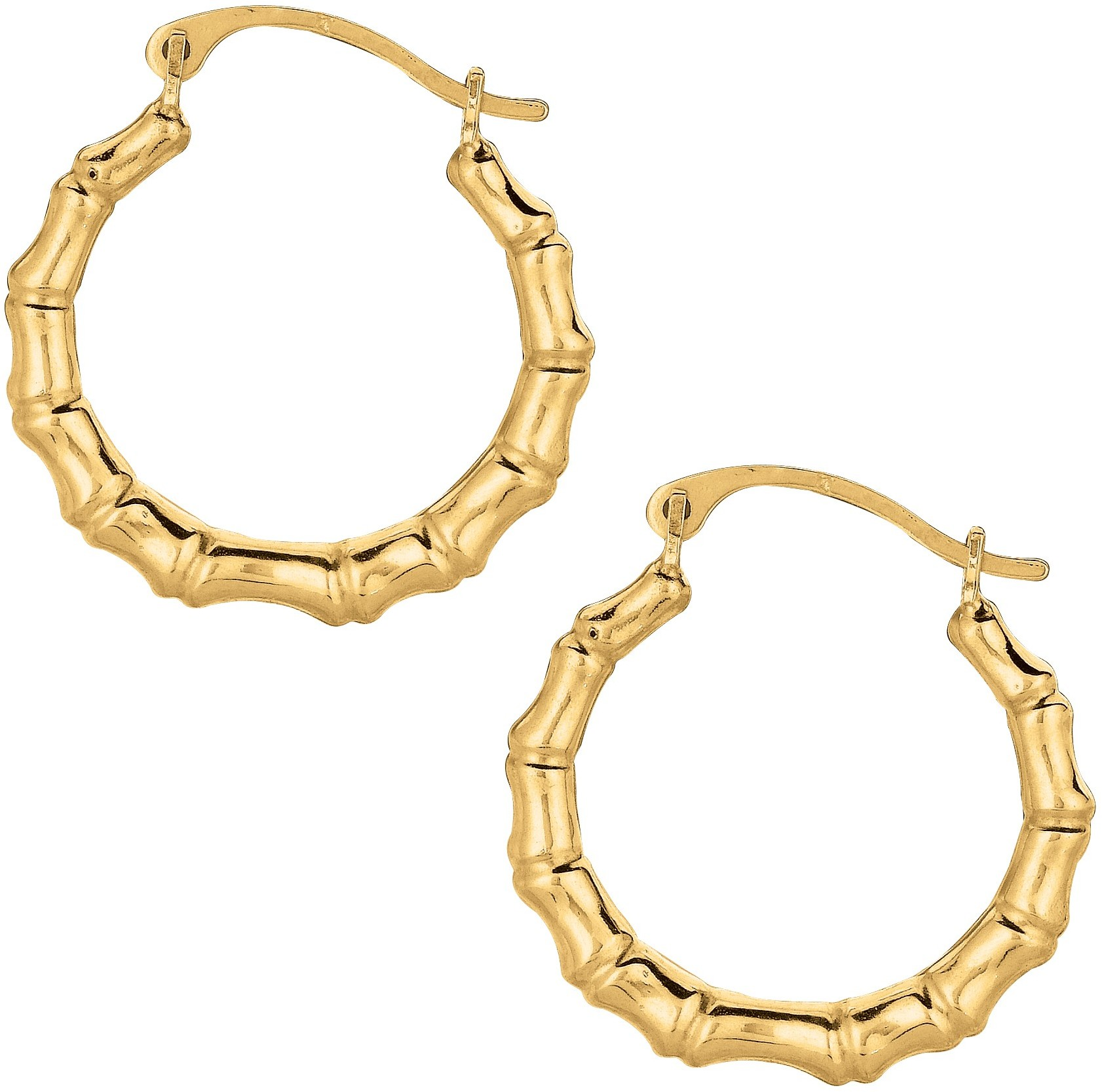 10K Yellow Gold Polished Round Twisted Bamboob Like Hoop Fancy Earrings