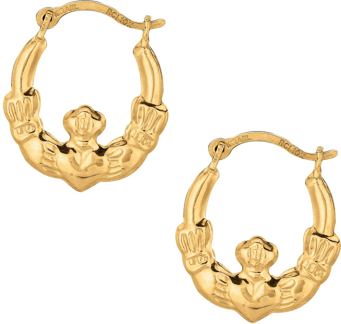 10K Yellow Gold Polished Texture Round Hoop Claddagh Fancy Earrings