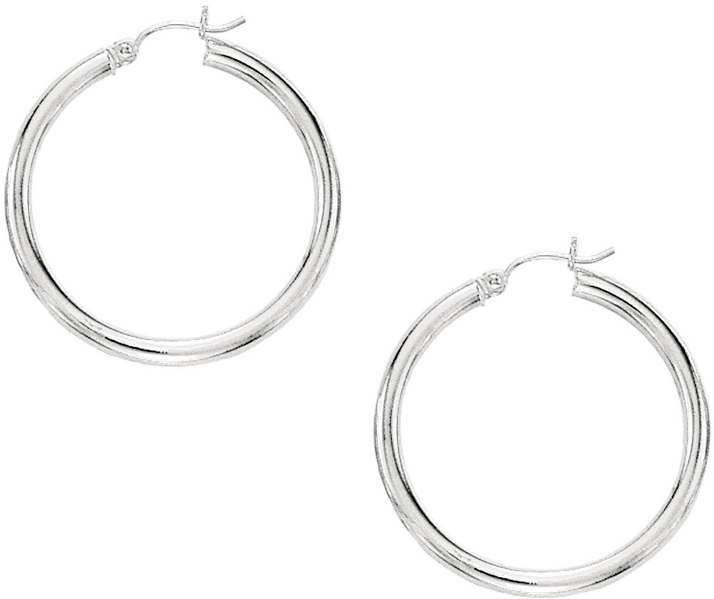 "10K White Gold 3x30mm (0.12""x1.18"") Hoop Earrings"