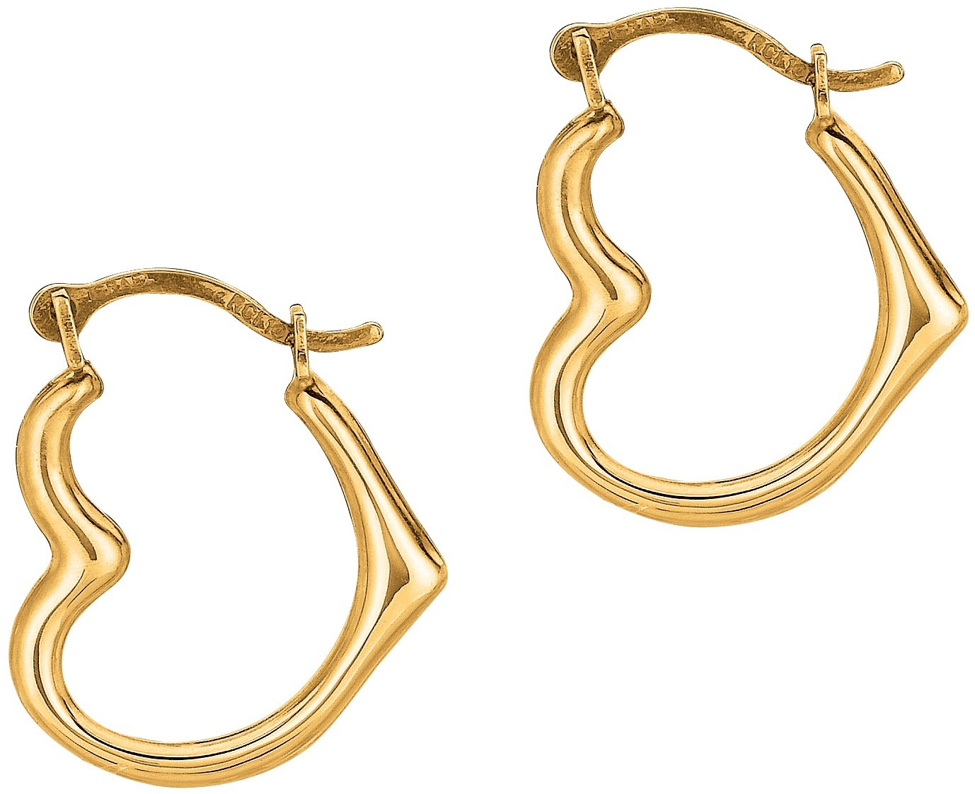10K Yellow Gold Shiny Small Open Heart Hoop Earrings