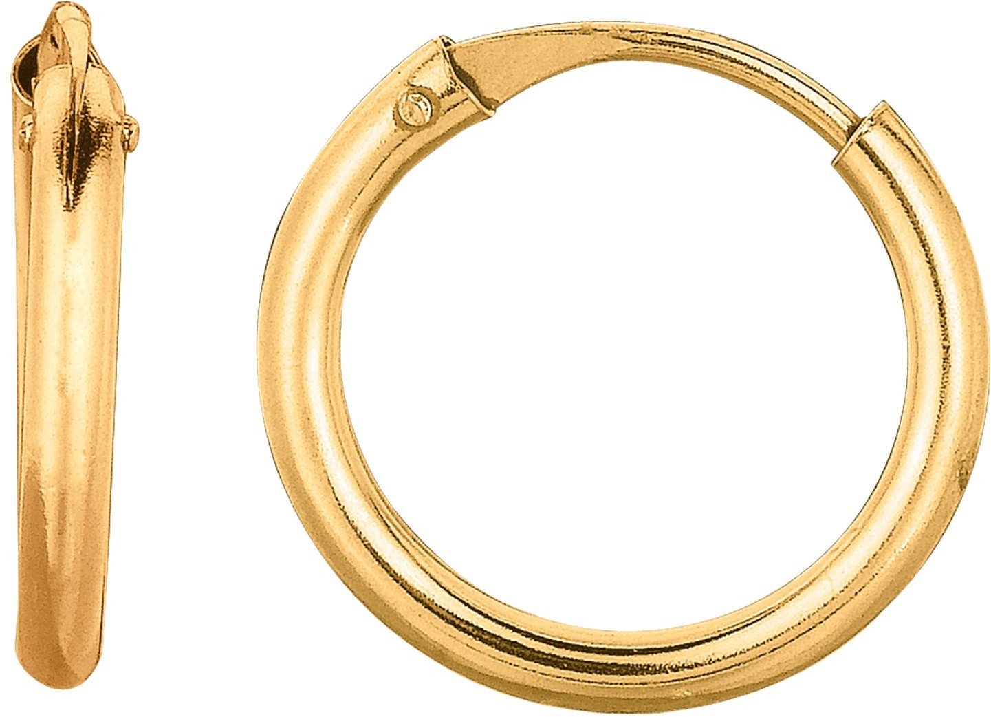 "10K Yellow Gold 1X10mm (0.04""x0.39"") Polished Small Endless Round Hoop Earrings"