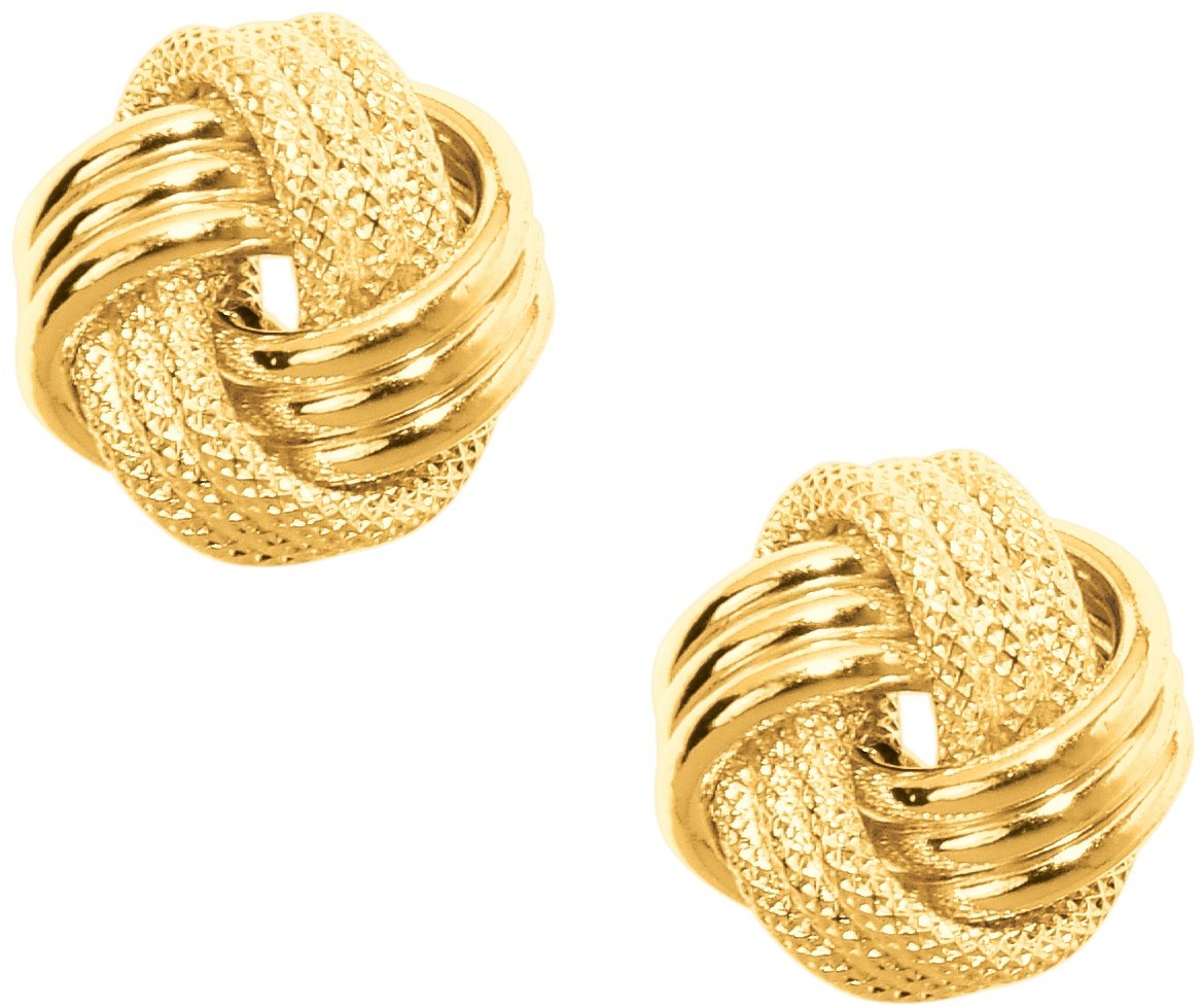 10K Yellow Gold Shiny Textured 3 Row Small Love Knot Earrings