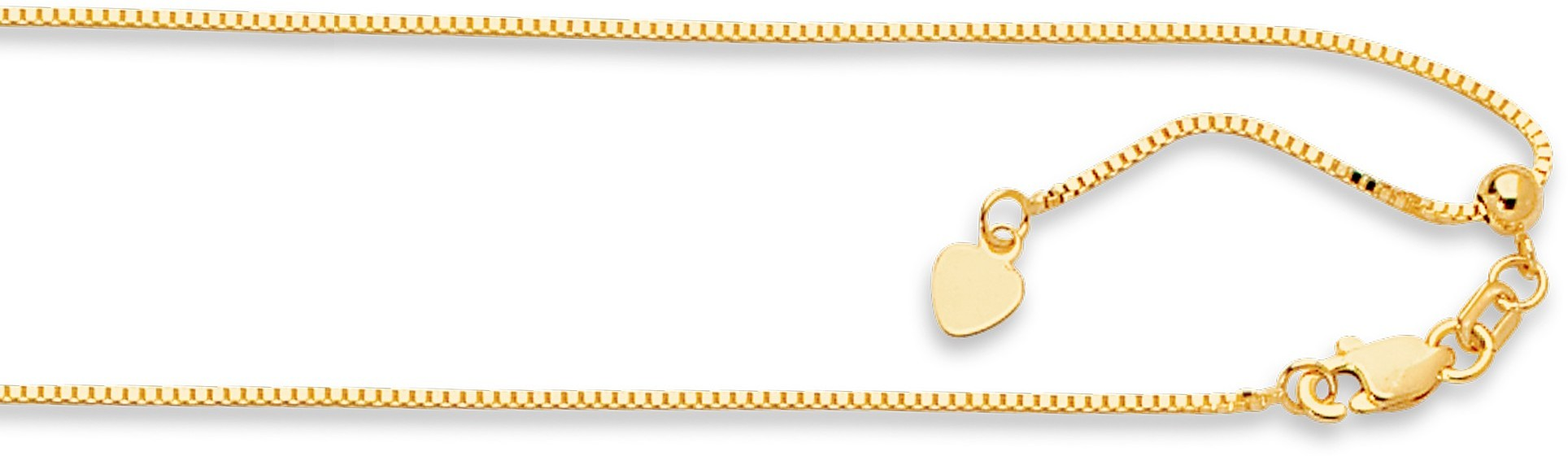 "22"" 14K Yellow Gold .85mm (0.03"") Polished Diamond Cut Adjustable Box Chain w/ Lobster Clasp"