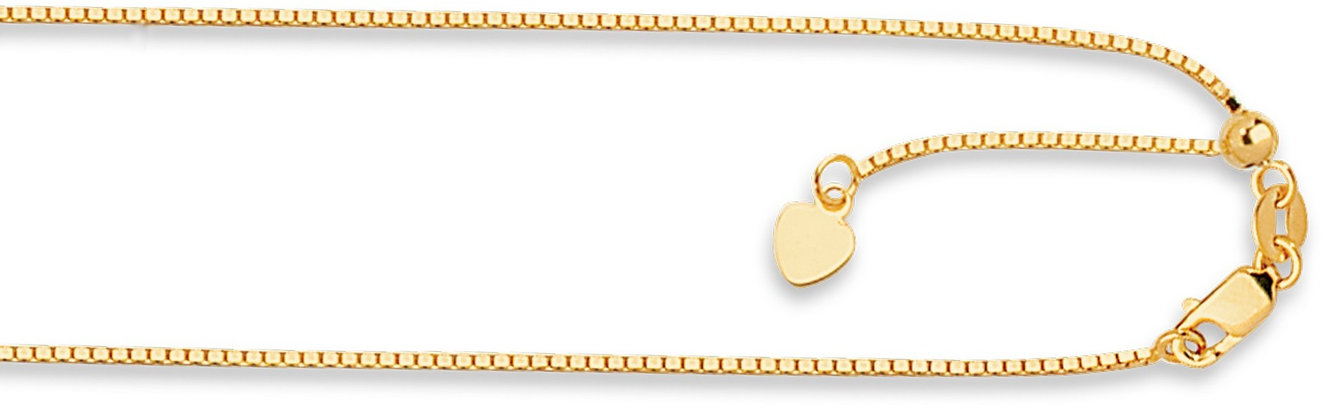 "22"" 14K Yellow Gold 1.1mm (0.04"") Polished Diamond Cut Adjustable Box Chain w/ Lobster Clasp"