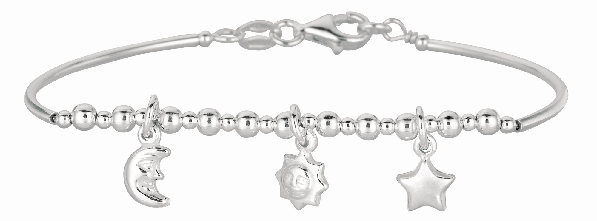 "5.5"" 925 Sterling Silver Rhodium Plated Shiny Curve Bar & Diamond Cut Bead Children Bracelet w/ Pear Shape Clasp & Moon & Star Charm"