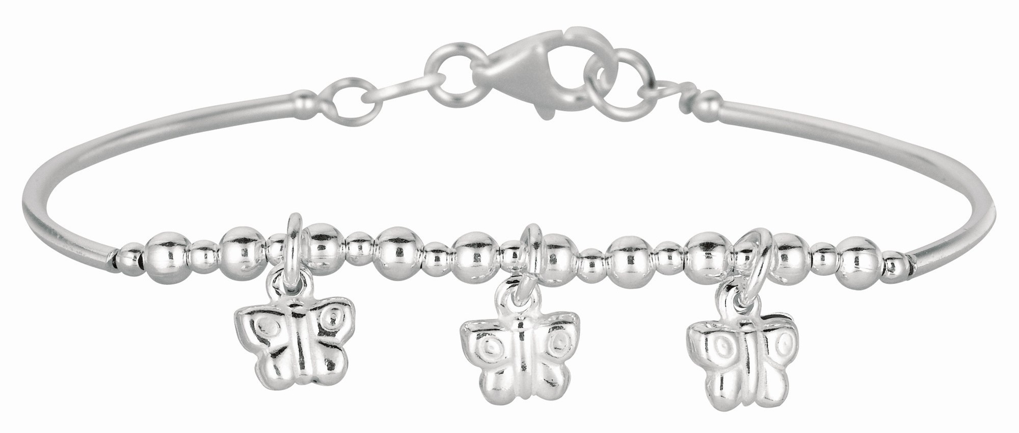 "5.5"" 925 Sterling Silver Rhodium Plated Shiny Curve Bar & Diamond Cut Bead Children Bracelet w/ Pear Shape Clasp & 3 Butterfly Charm"