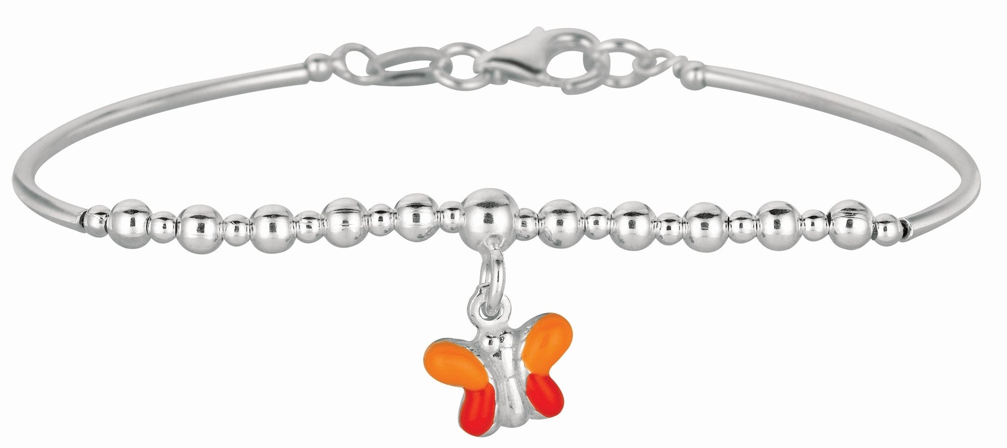 "5.5"" 925 Sterling Silver Rhodium Plated Shiny Round Curve Bar & Diamond Cut Bead Children Bracelet w/ Pear Shape Clasp & Orange Butterfly Charm"