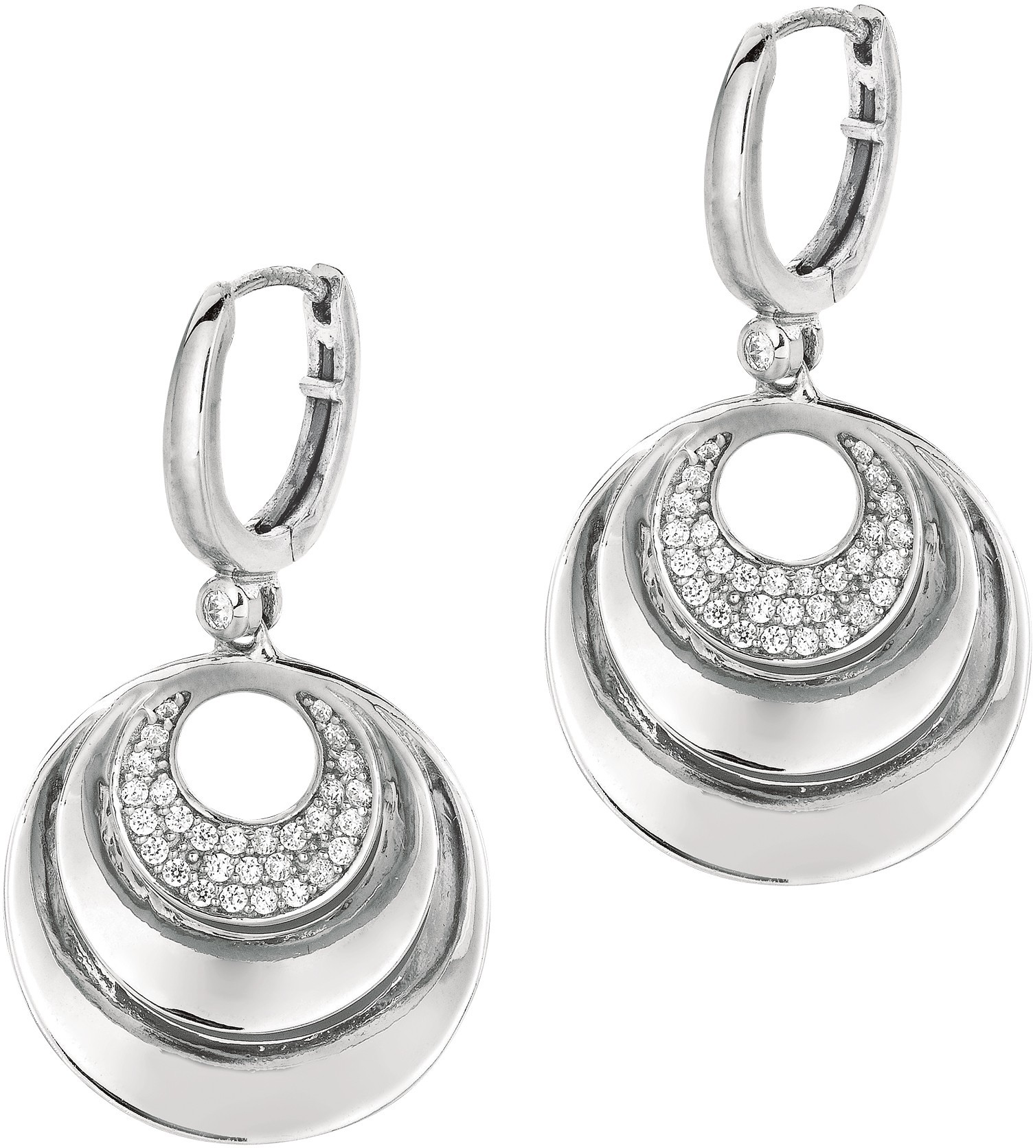 Silver Rhodium Plated Shiny 3 Graduated Open Circle Earrings w/ Clear CZ - DISCONTINUED