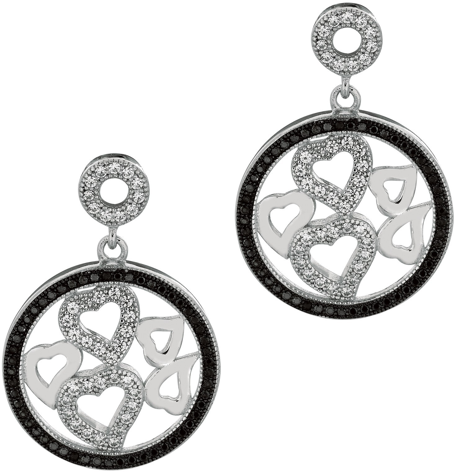 Silver Rhodium Plated Shiny Round Drop Earrings w/ 5 Small Hearts In Center Clear & Black Cubic Zirconia (CZ) - DISCONTINUED