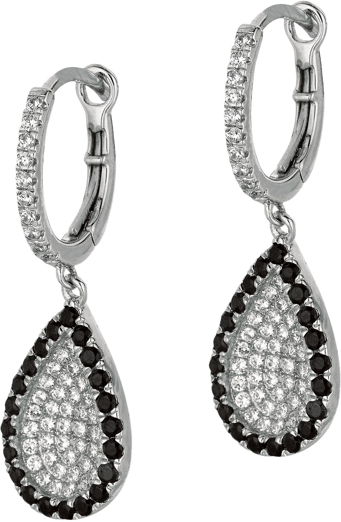 Silver Rhodium Plated Shiny Fancy Tear Drop Earrings w/ Black & White Cubic Zirconia (CZ) - DISCONTINUED