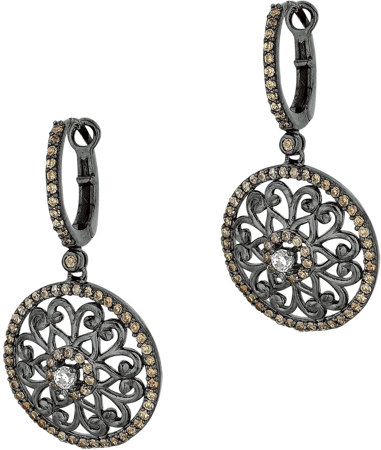 Silver Black Ruthenium Finish Textured Round Fancy Drop Earrings w/ Coffee & White Cubic Zirconia (CZ) - DISCONTINUED