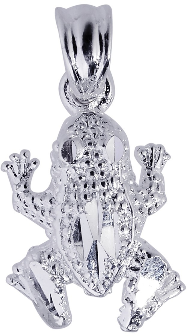 Silver Rhodium Plated Shiny Textured Frog Sea Life Pendant