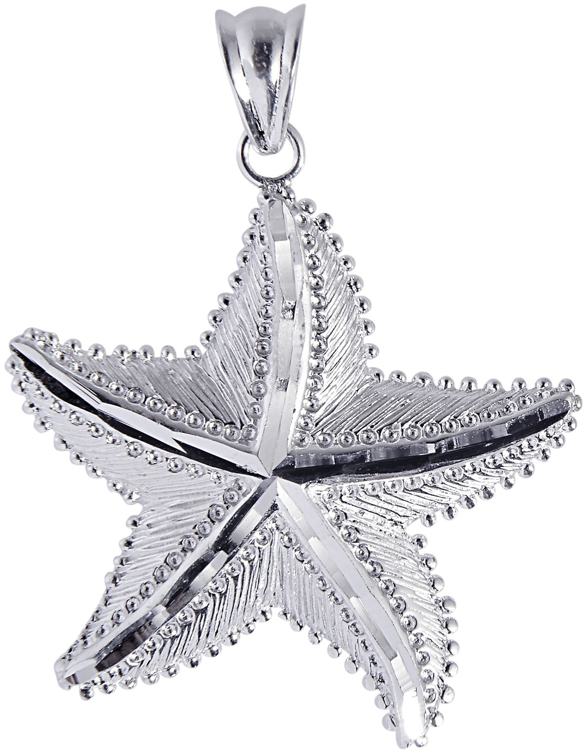 Silver Rhodium Plated Shiny Textured Starfish Sea Life Pendant (BTAGCH123)