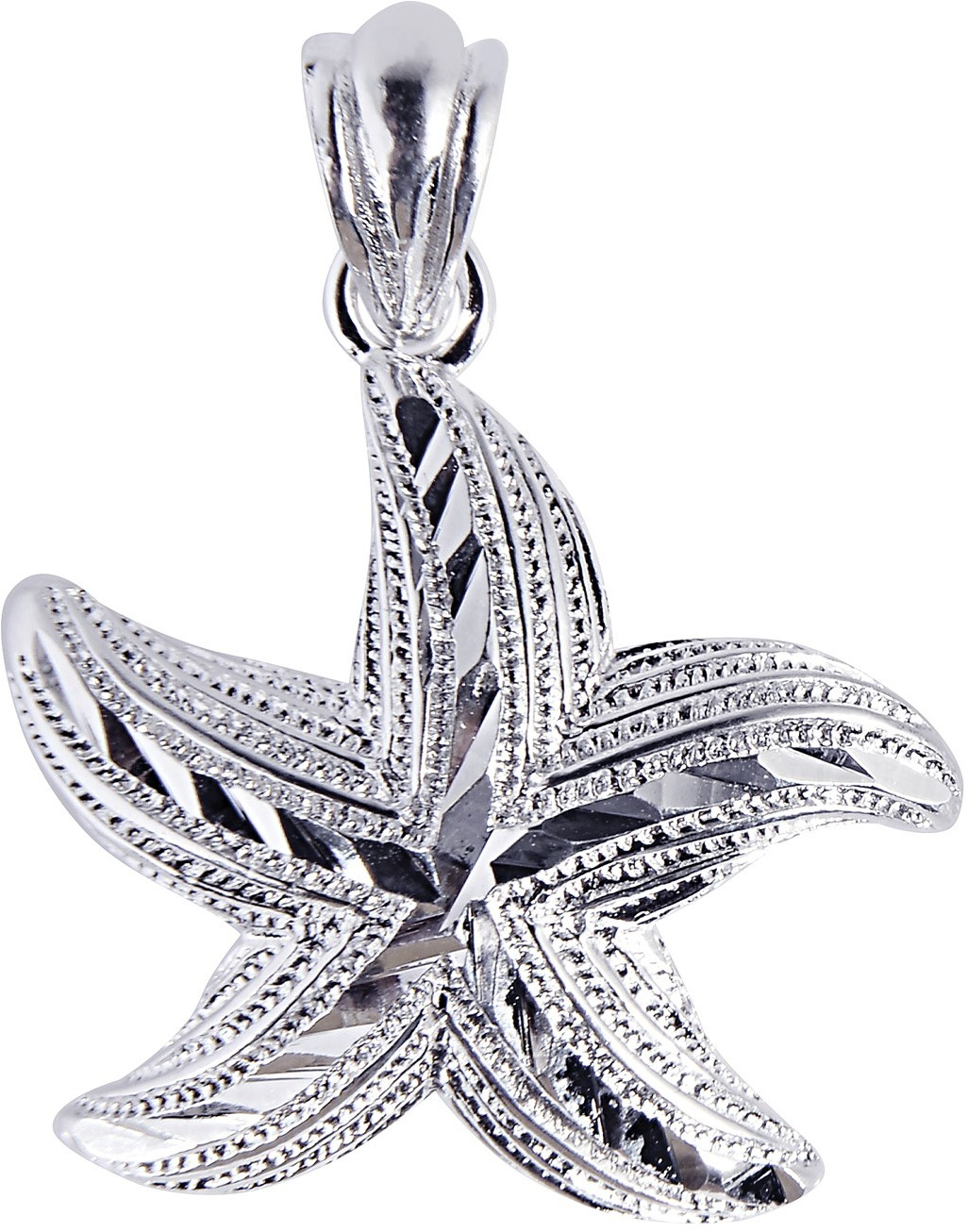 Silver Rhodium Plated Shiny Textured Starfish Sea Life Pendant (BTAGCH124)