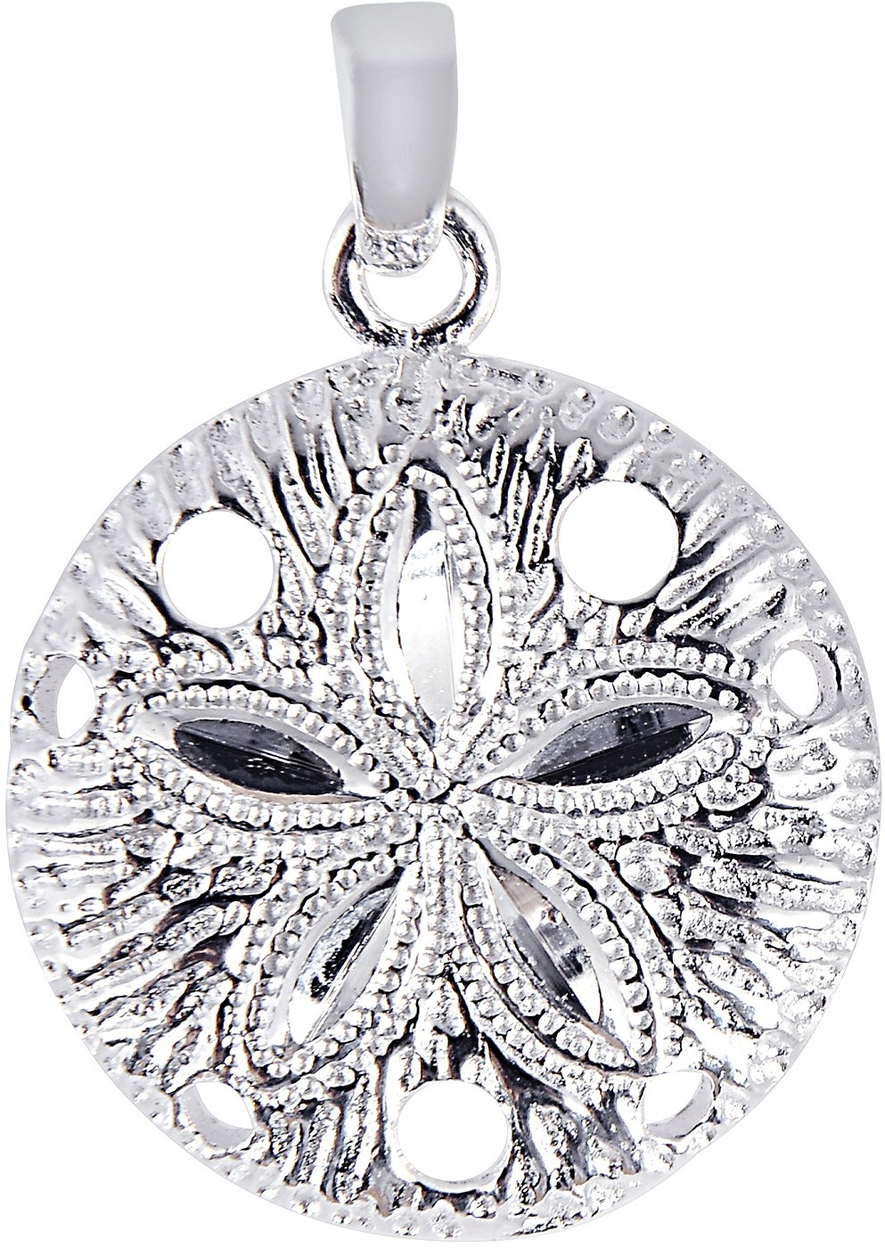 Silver Rhodium Plated Shiny Textured Sand Dollar Sea Life Pendant (BTAGCH132)