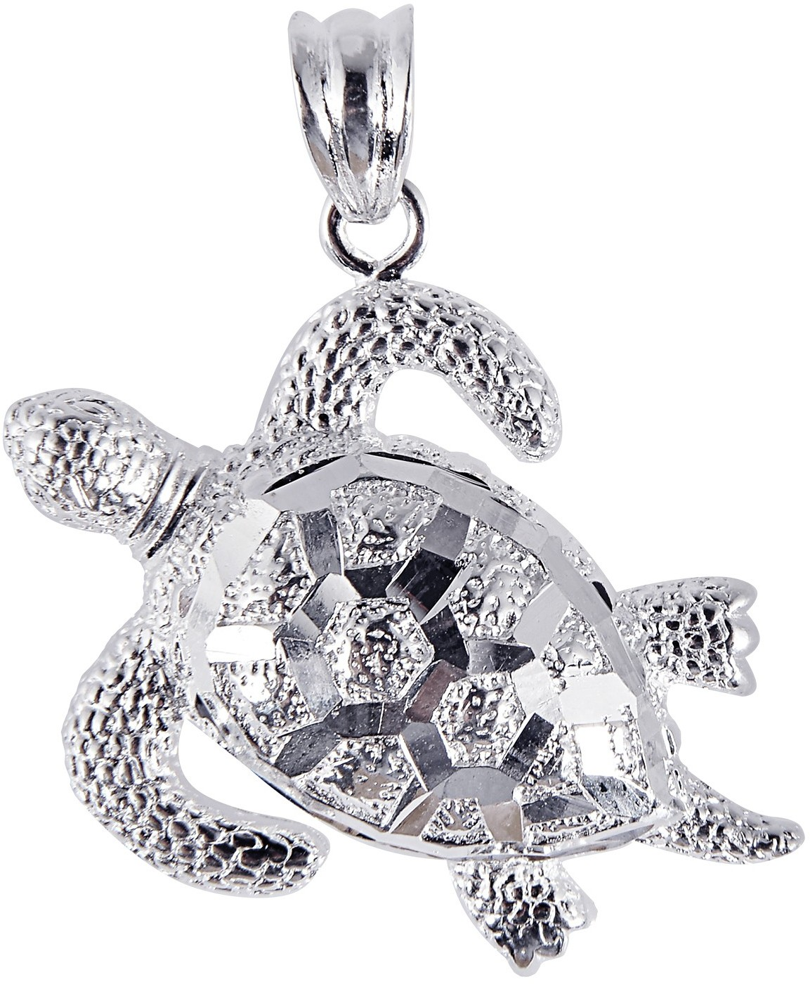 Silver Rhodium Plated Shiny Textured Turtle Sea Life Pendant (BTAGCH134)