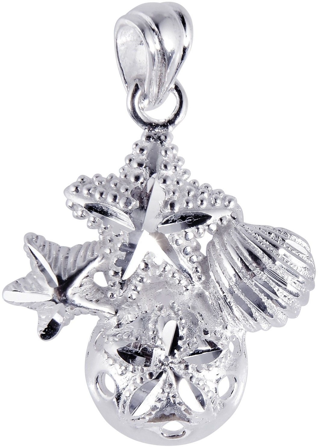 Silver Rhodium Plated Shiny Textured Sand Dollar & Sea Shell & Starfish Sea Life Pendant
