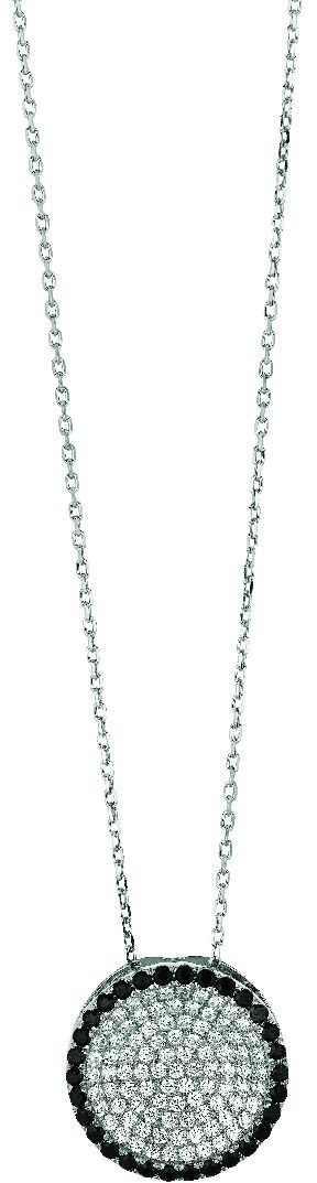"18"" Rhodium Plated 925 Sterling Silver 1.1mm (0.04"") Cable Chain w/ Lobster Clasp & Round Pendant w/ Black & White Cubic Zirconia (CZ)"