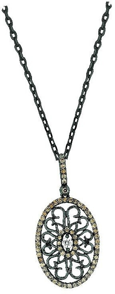 "18"" 925 Sterling Silver Black & Rhodium Plated 1.25mm (0.05"") Cable Chain w/ Lobster Clasp & Oval Pendant w/ Coffee & White Cubic Zirconia (CZ)"
