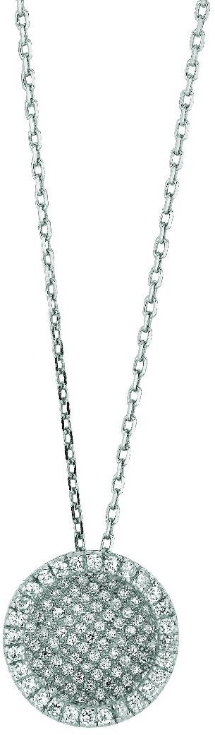 "18"" Rhodium Plated 925 Sterling Silver 1.1mm (0.04"") Cable Chain Lobster w/ Clasp & Round Pendant w/ Clear Cubic Zirconia (CZ) - DISCONTINUED"