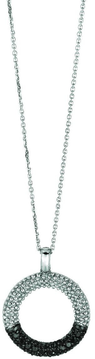 "18"" Rhodium Plated 925 Sterling Silver 1.1mm (0.04"") Cable Chain w/ Open Circle Black & White Cubic Zirconia (CZ) Pendant - DISCONTINUED"
