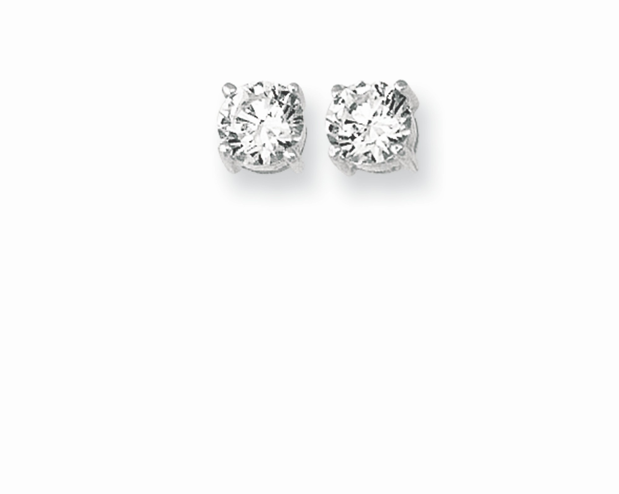 "Silver Rhodium Plated Shiny 6.0mm (1/4"") Clear Round Cubic Zirconia (CZ) Post Back Earrings"