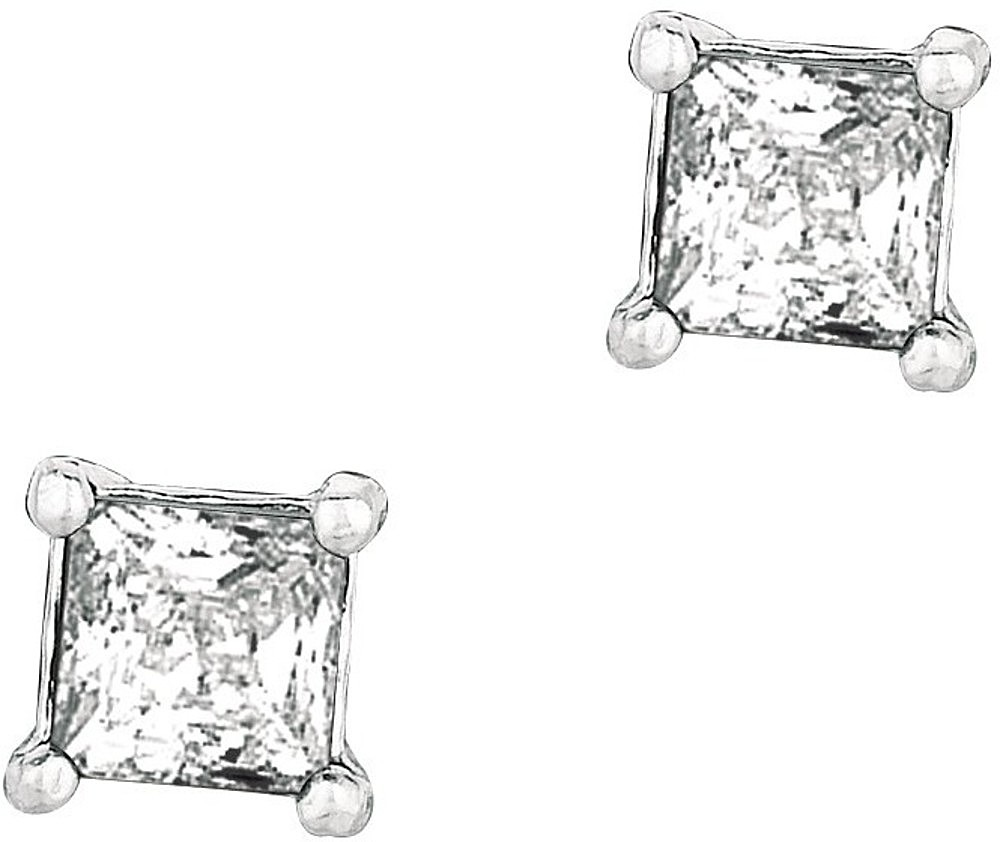"Silver Rhodium Plated Shiny 6.0mm (1/4"") Clear Square Cubic Zirconia (CZ) Post Back Earrings"