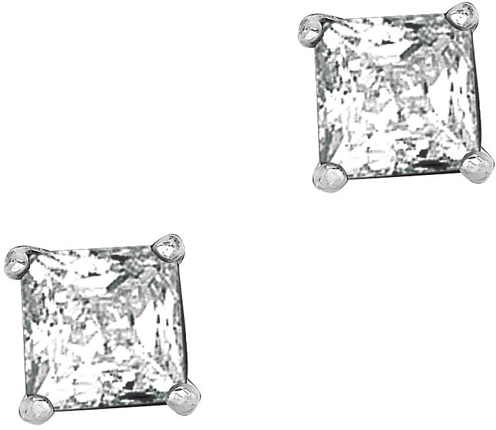 "Silver Rhodium Plated Shiny 5.0mm (1/5"") Clear Square Cubic Zirconia (CZ) Post Back Earrings"