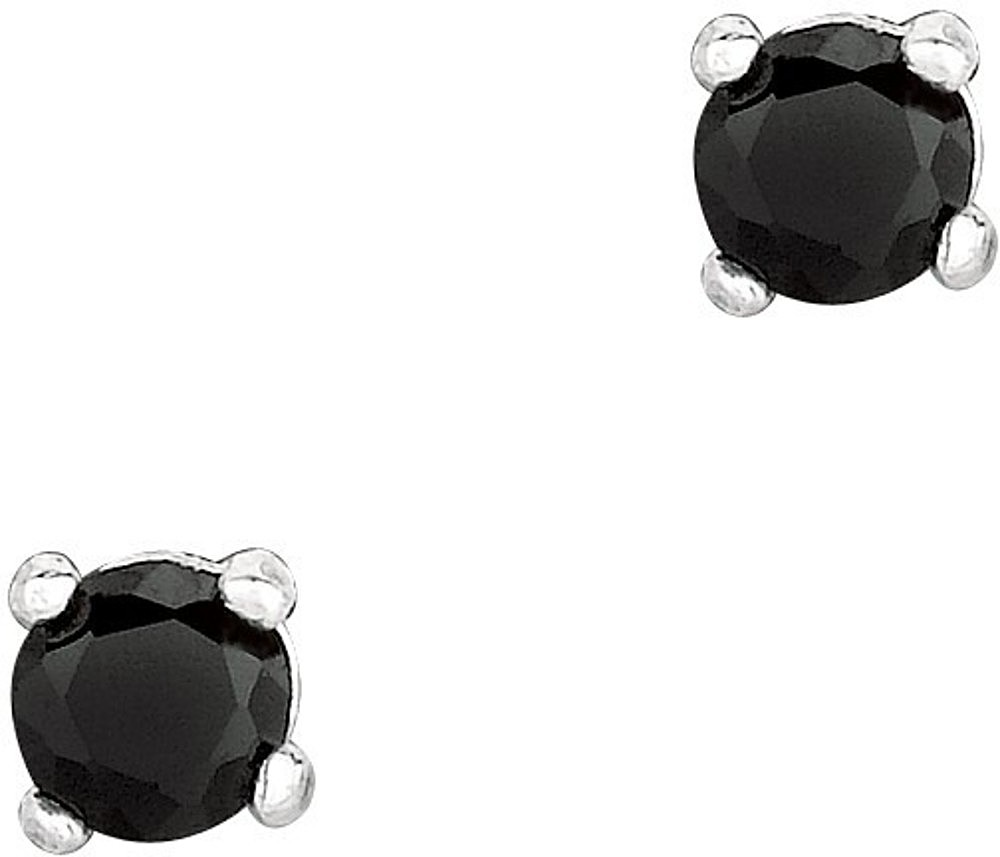 "Silver Rhodium Plated Shiny 3.0mm (1/8"") Round Black Cubic Zirconia (CZ) Stud Post Back Earrings"