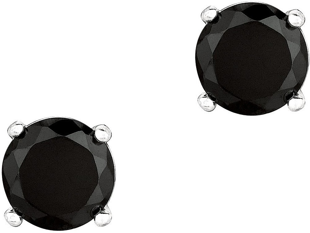 "Silver Rhodium Plated Shiny 7.0mm (2/7"") Round Black Cubic Zirconia (CZ) Stud Post Back Earrings"