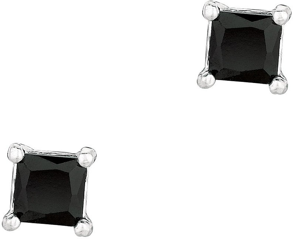 "Silver Rhodium Plated Shiny 4.0mm (1/6"") Black Square Cubic Zirconia (CZ) Stud Post Back Earrings"